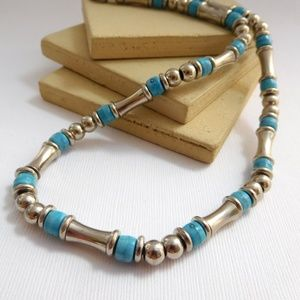 Jewelry - Silver Stainless Steel Blue Glass Bead Necklace
